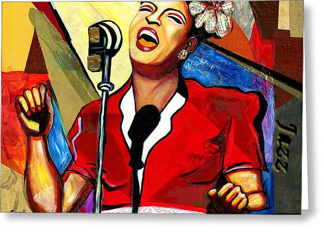 Billie Holiday Greeting Card by Everett Spruill