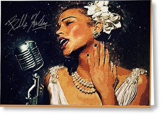Horne Greeting Cards - Billie Holiday Greeting Card by Taylan Soyturk