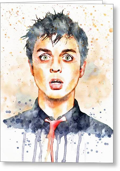 Punk Rock Music Greeting Cards - Billie Joe Armstrong watercolor Greeting Card by Marian Voicu