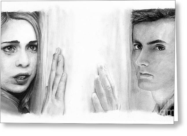 Charcoal Portrait Greeting Cards - Billie Piper and David Tennant Greeting Card by Rosalinda Markle