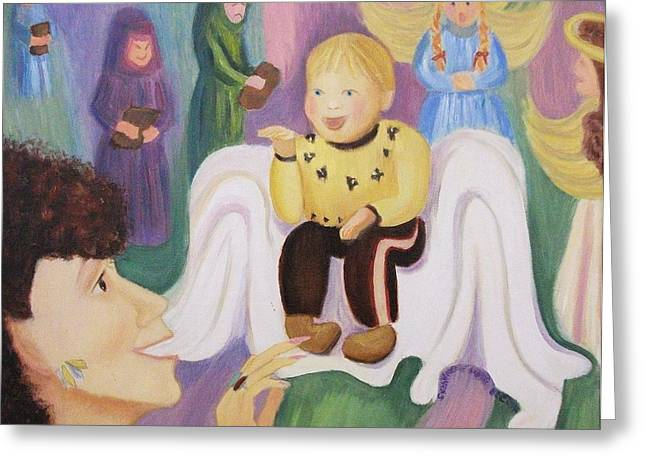 Suzanne Marie Molleur Paintings Greeting Cards - Billy as Baby Jesus Greeting Card by Suzanne  Marie Leclair