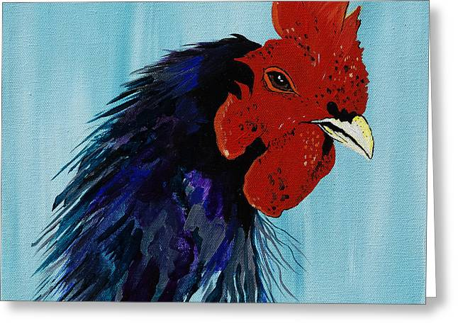 Billy Boy The Rooster Greeting Card by Janice Rae Pariza