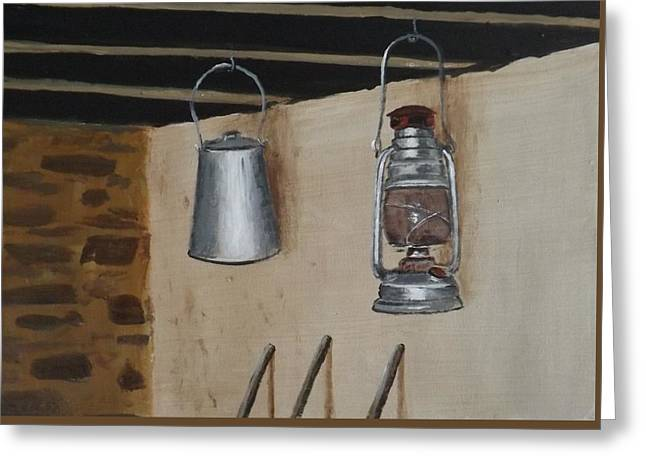 Sheds Greeting Cards - Billy Can and Oil Lamp Greeting Card by Tony Gunning
