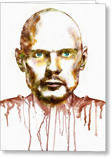 Pumpkin Greeting Cards - Billy Corgan watercolor portrait Greeting Card by Marian Voicu