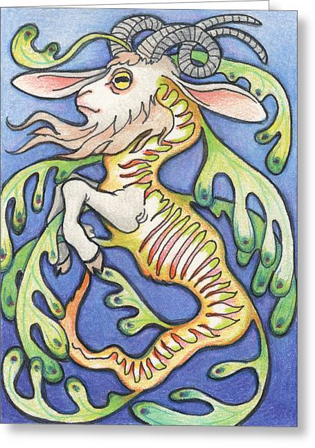 Goat Drawings Greeting Cards - Billy Dragon Greeting Card by Amy S Turner