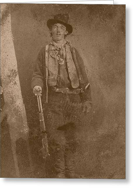 Gunman Greeting Cards - Billy The Kid Greeting Card by War Is Hell Store