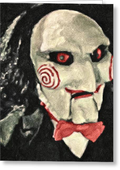 Character Portraits Paintings Greeting Cards - Billy the Puppet Greeting Card by Taylan Soyturk
