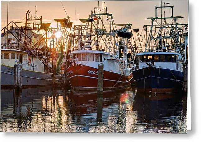 Biloxi Greeting Cards - Biloxi Shrimper Sunrise Greeting Card by JC Findley
