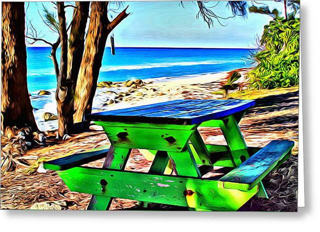 Bimini Greeting Cards - Bimini Bench Greeting Card by Anthony C Chen