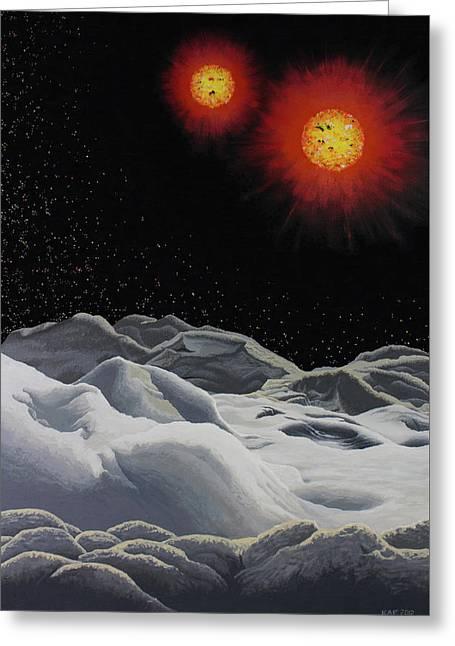 Binary Red Dwarf Stars 2 Greeting Card by Kurt Kaf