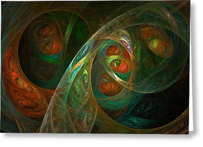 Fractal Orbs Greeting Cards - Bindering Greeting Card by Sharon and Renee Lozen