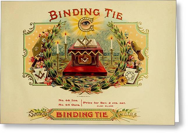 Smoking Room Decor Greeting Cards - Binding Tie Vintage Cigar Label Greeting Card by Serge Averbukh