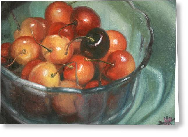 Cherries Greeting Cards - Bing Different Greeting Card by Anna Bain