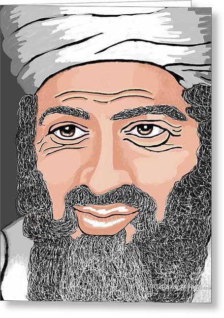 Terrorist Drawings Greeting Cards - BinLaden Greeting Card by Richard Heyman