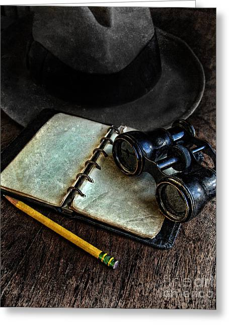 Old Objects Photographs Greeting Cards - Binoculars Fedora and Notebook Greeting Card by Jill Battaglia