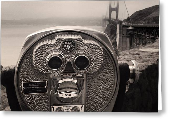 Famous Bridge Greeting Cards - Binoculars Greeting Card by Les Cunliffe