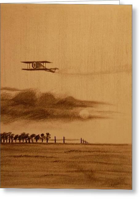 Airplane Pastels Greeting Cards - Biplane-3 Greeting Card by Krishnamurthy S