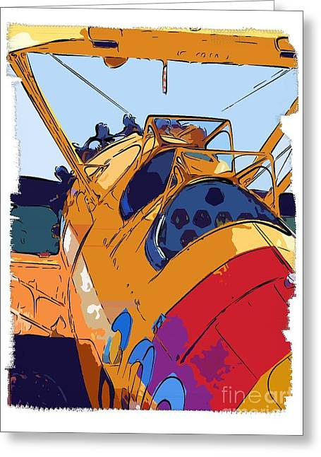 Berry Digital Art Greeting Cards - BiPlane Greeting Card by Diane E Berry
