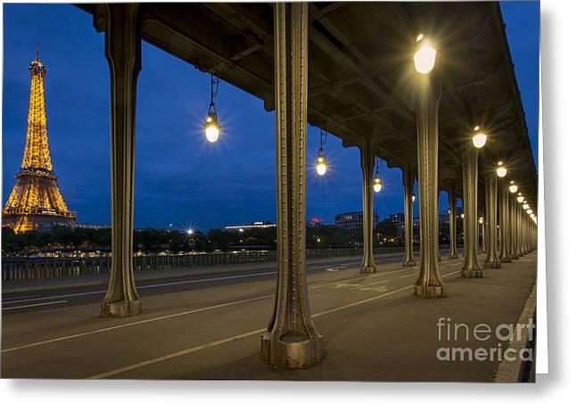 Night Lamp Greeting Cards - Bir Hakeim and Eiffel Greeting Card by Brian Jannsen
