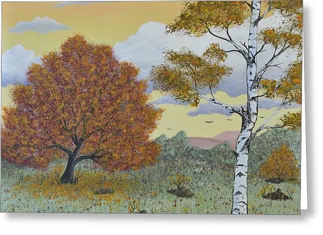 Autumn Landscape Paintings Greeting Cards - Birch and Oak Frienship Greeting Card by Georgeta  Blanaru