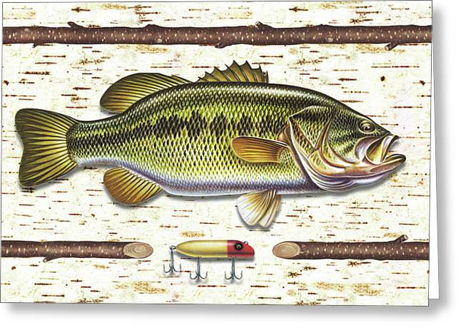 Retro Antique Greeting Cards - Birch Bass Greeting Card by JQ Licensing