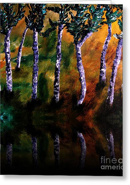 Acrylic On Wood Greeting Cards - Birch Forest Reflections Greeting Card by Angela Pari  Dominic Chumroo