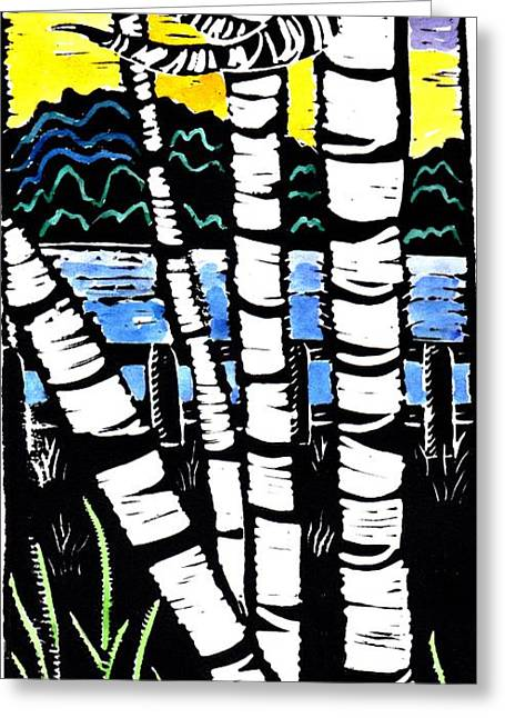Recently Sold -  - Lino Greeting Cards - Birch Lake Greeting Card by Jane Croteau