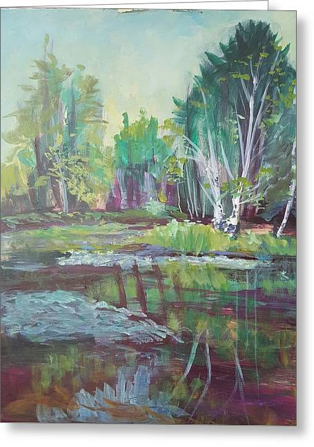 Lilly Pad Greeting Cards - Birch Reflections Greeting Card by Cheryl LaBahn Simeone