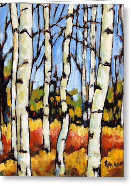 Original By ist Paintings Greeting Cards - Birch Study by Prankearts Greeting Card by Richard T Pranke