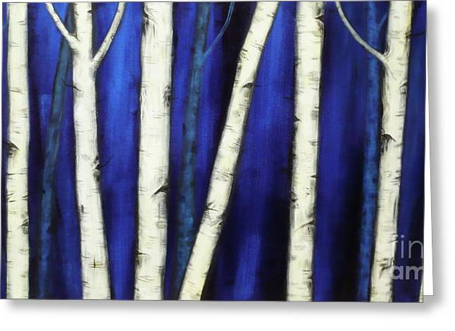 Birch Trees-3 Greeting Card by Monika Shepherdson