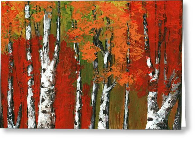 Birch Trees In An Autumn Forest Greeting Card by Anastasiya Malakhova