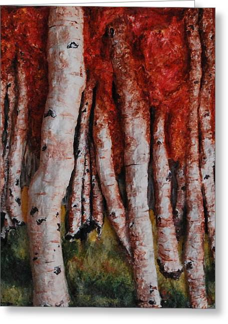 Fall Grass Sculptures Greeting Cards - Birch Trees in Autumn Greeting Card by Alison  Galvan