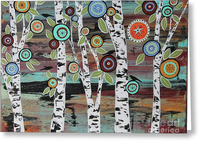 Birch Woods Greeting Card by Karla Gerard