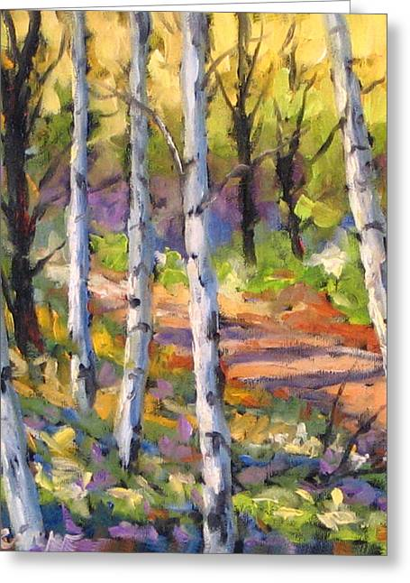 Birch Tree Greeting Cards - Birches 02 Greeting Card by Richard T Pranke