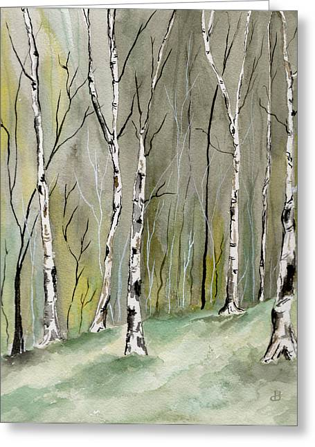 Maine Spring Paintings Greeting Cards - Birches Before Spring Greeting Card by Brenda Owen