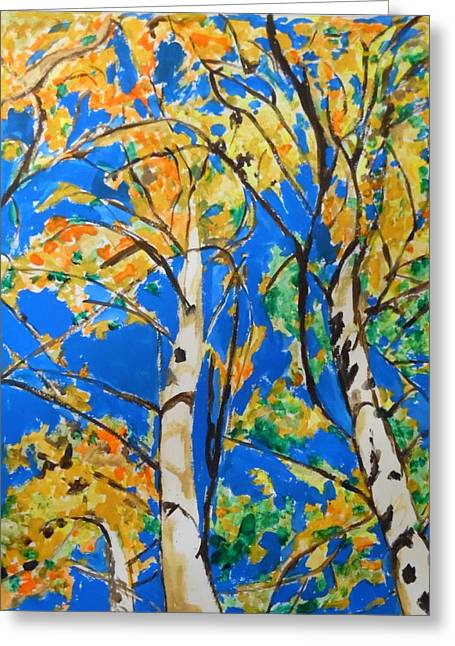 Bark Paper Prints Greeting Cards - BirchTrees in Fall Greeting Card by Esther Newman-Cohen