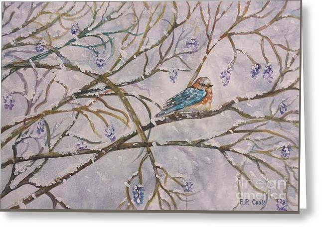 Snow Tree Prints Greeting Cards - Bird and Branches Greeting Card by Elizabeth Coats