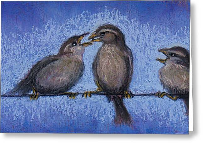 Bird Babies On A Wire Greeting Card by Susan Jenkins