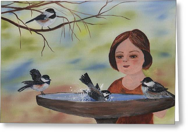 Water Color Greeting Cards - Bird Bath Time Greeting Card by Sharon Mick