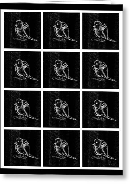 Repetition Drawings Greeting Cards - Bird Grid Black and White Greeting Card by David Doucette