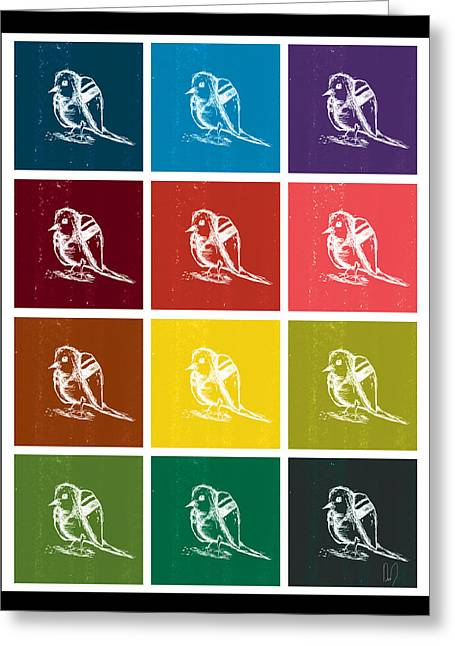 Repetition Drawings Greeting Cards - Bird Grid Color Greeting Card by David Doucette