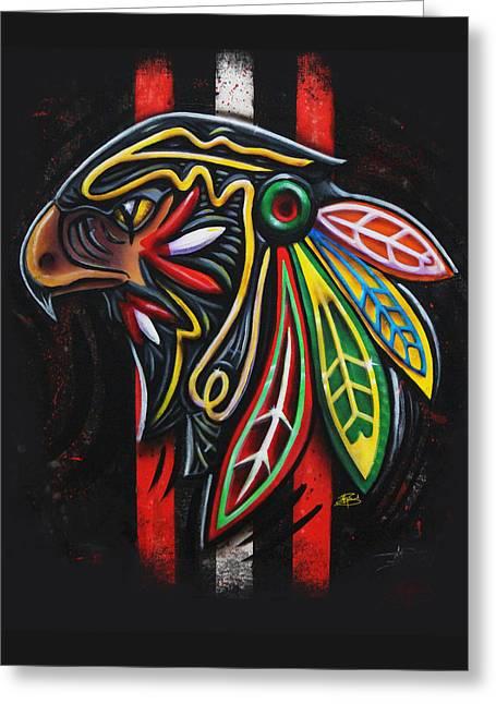 Hockey Art Greeting Cards - Bird Head Greeting Card by Michael Figueroa