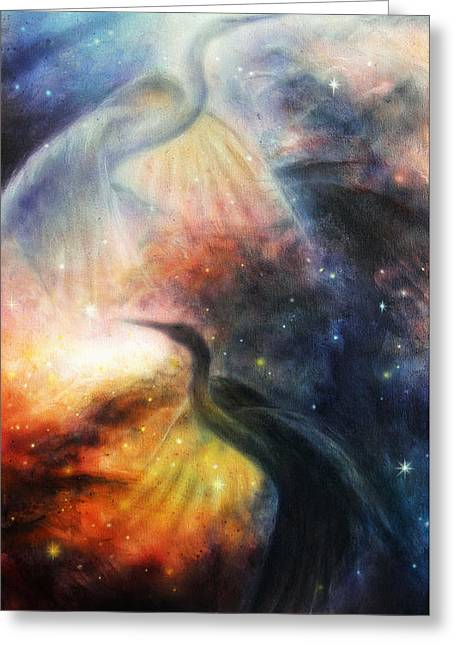 Blue And Green Greeting Cards - Bird  Heron in beautiful space airbrush painting Greeting Card by Jozef Klopacka