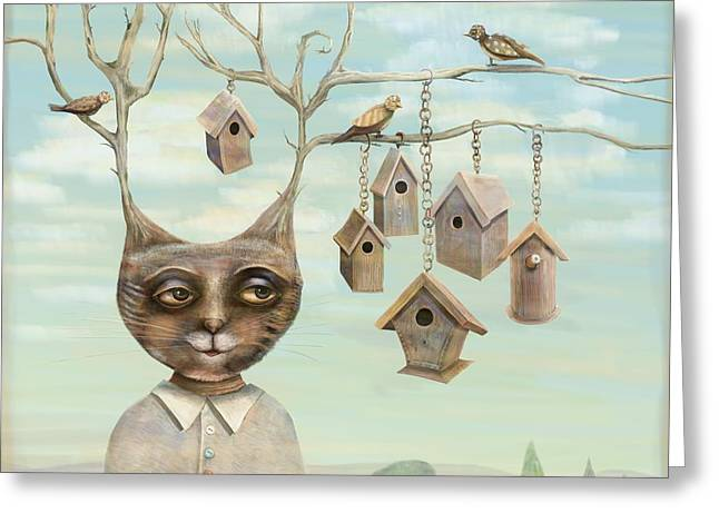 Surreal Landscape Greeting Cards - Bird Houses Greeting Card by Catherine  Swenson