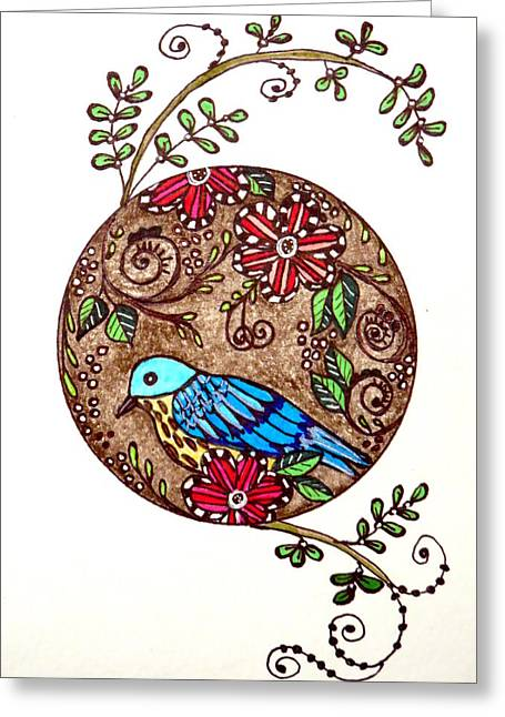 Hand Drawn Greeting Cards - Bird in a Bubble Greeting Card by Michelle DeLore