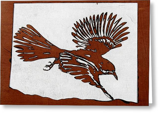 Stencil Mixed Media Greeting Cards - Bird in Flight Greeting Card by Carolyn Doe