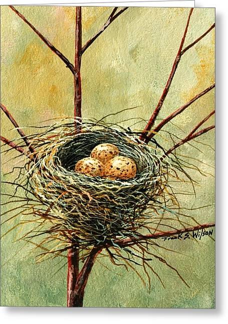Frank Wilson Greeting Cards - Bird Nest Greeting Card by Frank Wilson