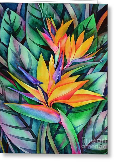 Strelitzia Paintings Greeting Cards - Bird of Paradise Greeting Card by Zaira Dzhaubaeva