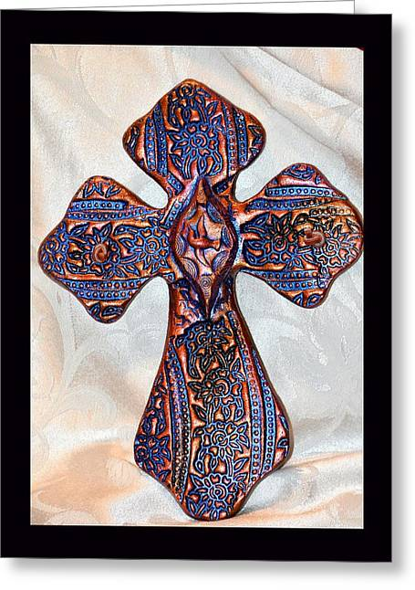 Mountain Ceramics Greeting Cards - Bird of Peace Cross Greeting Card by Susanne Still