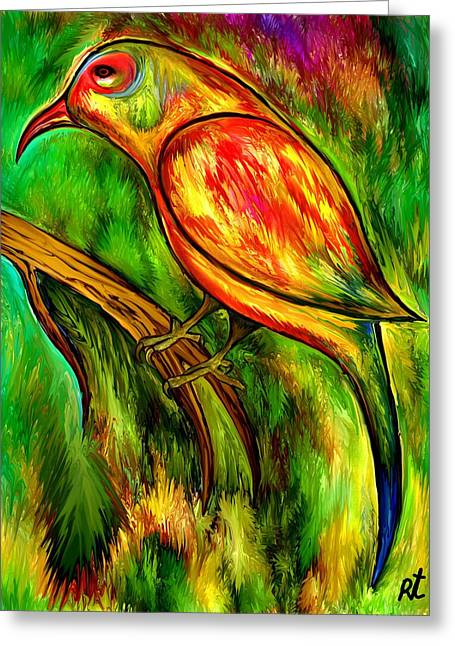 Best Sellers -  - Abstract Digital Drawings Greeting Cards - Bird on a branch Greeting Card by Rafi Talby